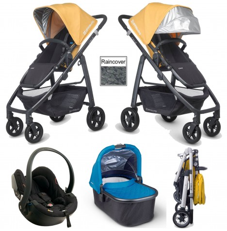 Uppababy Cruz Travel System & Carrycot - Maya Yellow / Georgie Blue