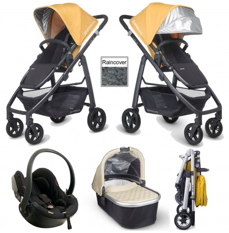Uppababy Cruz Travel System & Carrycot - Maya Yellow / Lindsey Wheat