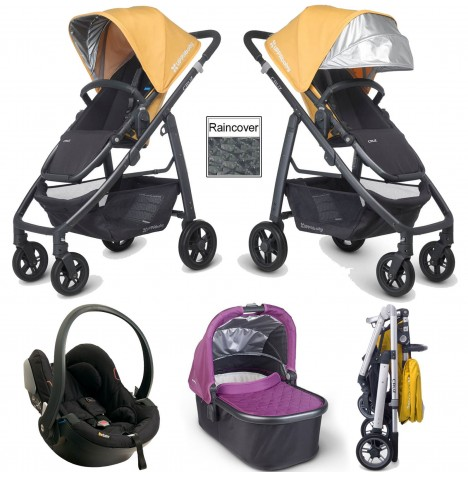 Uppababy Cruz Travel System & Carrycot - Maya Yellow / Samantha Purple