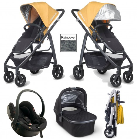 Uppababy Cruz Travel System & Carrycot - Maya Yellow / Jake Black