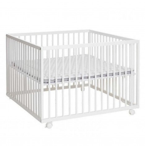 Babydan Comfort Wooden Playpen & Mat - White / Grey Stripes