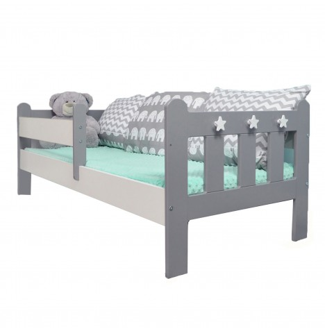 4Baby Stanley Junior / Toddler Bed With Deluxe Foam Mattress - Grey / White