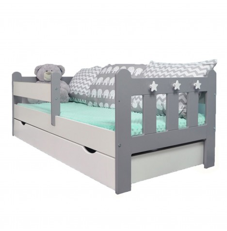4Baby Stanley Junior / Toddler Bed With Drawer & Deluxe Foam Mattress - Grey / White