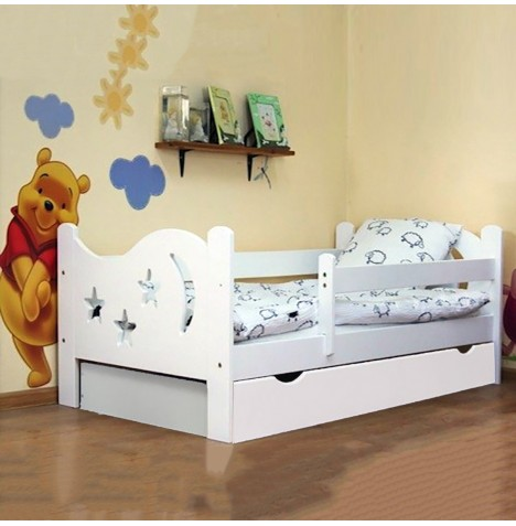 4Baby Camilla Junior / Toddler Bed With Drawer & Deluxe Foam Mattress - White