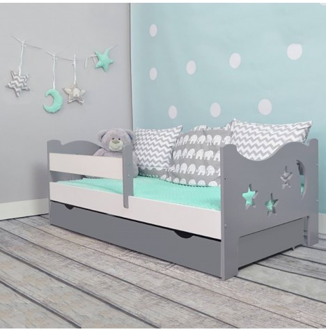 4Baby Camilla Junior / Toddler Bed With Drawer & Deluxe Foam Mattress - Grey