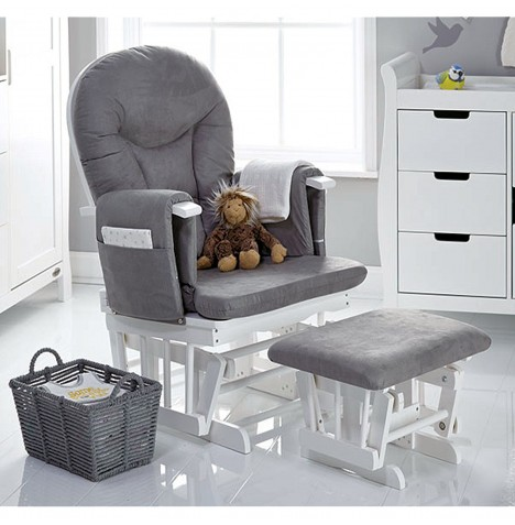 Obaby Reclining Glider Nursing Chair & Stool - White / Grey Cushions