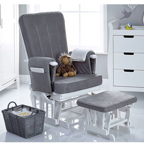 Obaby Deluxe Reclining Glider Nursing Chair & Stool - White / Grey Cushions