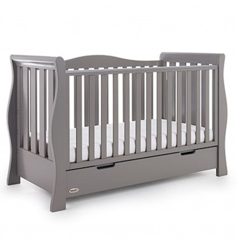 Obaby Stamford Luxe Cot Bed & Under Drawer - Taupe Grey