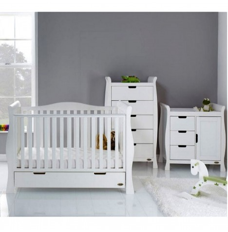 Obaby Stamford Luxe Sleigh 2 Piece Nursery Room Set - White