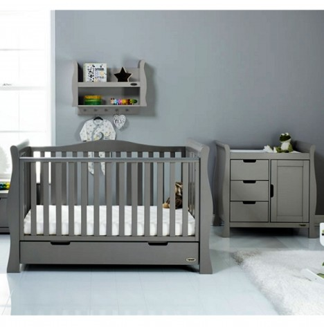 Obaby Stamford Luxe Sleigh 2 Piece Nursery Room Set - Taupe Grey