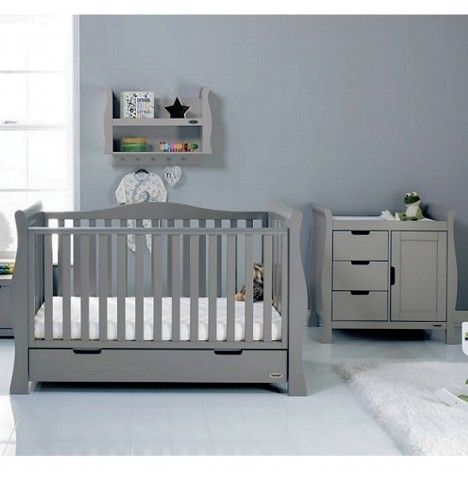 Obaby Stamford Luxe Sleigh 2 Piece Nursery Room Set - Warm Grey