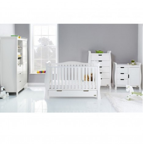 Obaby Stamford Luxe Sleigh 3 Piece Nursery Room Set - White