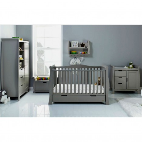 Obaby Stamford Luxe Sleigh 3 Piece Nursery Room Set - Taupe Grey