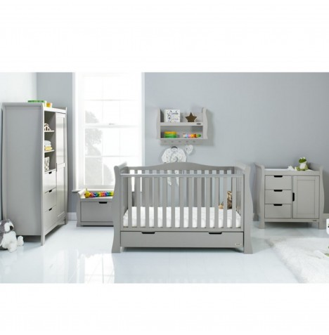 Obaby Stamford Luxe Sleigh 3 Piece Nursery Room Set - Warm Grey