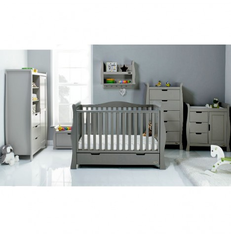 Obaby Stamford Luxe Sleigh 4 Piece Nursery Room Set - Taupe Grey