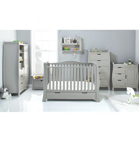 Obaby Stamford Luxe Sleigh 4 Piece Nursery Room Set - Warm Grey