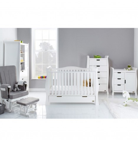 Obaby Stamford Luxe Sleigh 5 Piece Nursery Room Set - White