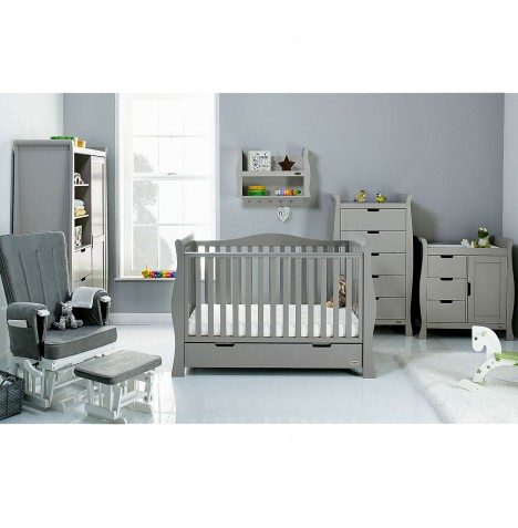 Obaby Stamford Luxe Sleigh 5 Piece Nursery Room Set - Taupe Grey