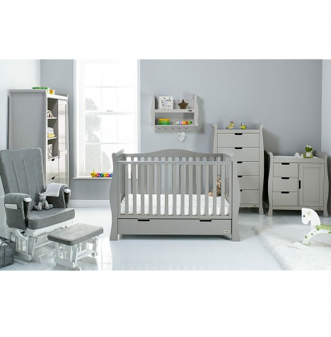 Obaby Stamford Luxe Sleigh 5 Piece Nursery Room Set - Warm Grey