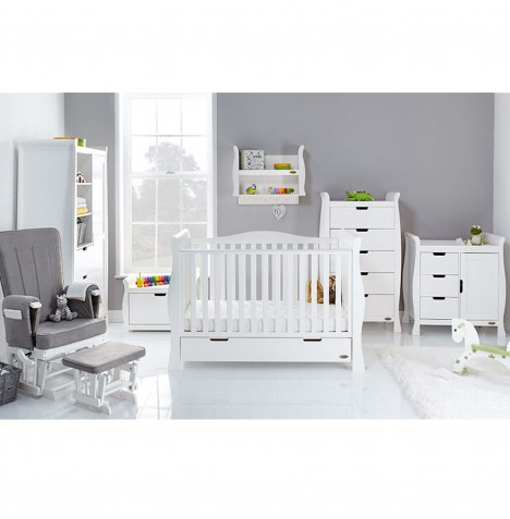 Obaby Stamford Luxe Sleigh 7 Piece Nursery Room Set - White