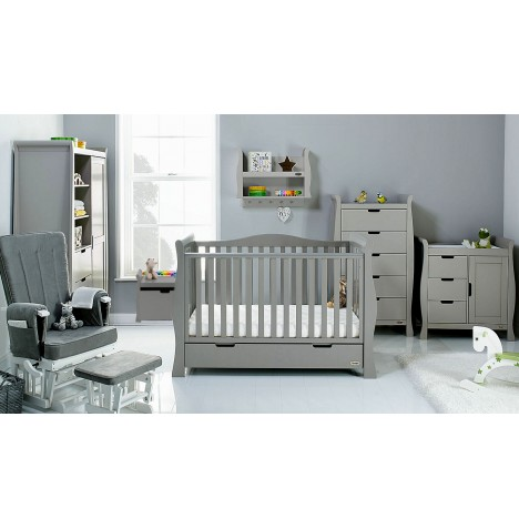 Obaby Stamford Luxe Sleigh 7 Piece Nursery Room Set - Taupe Grey