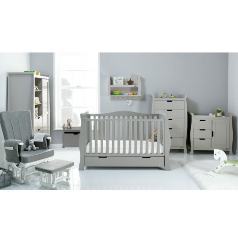 Obaby Stamford Luxe Sleigh 7 Piece Nursery Room Set - Warm Grey