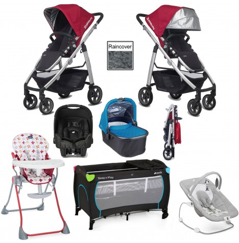 Uppababy Cruz Everything You Need Travel System & Carrycot Bundle - Denny Red / Georgie Blue