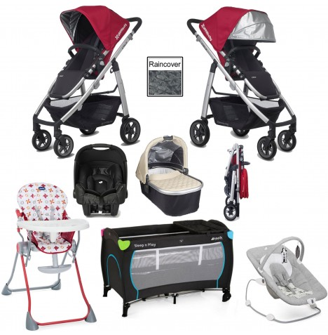 Uppababy Cruz Everything You Need Travel System & Carrycot Bundle - Denny Red / Lindsey Wheat