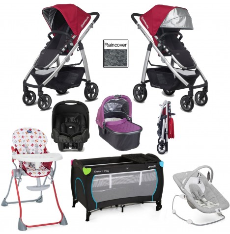 Uppababy Cruz Everything You Need Travel System & Carrycot Bundle - Denny Red / Samantha Pink
