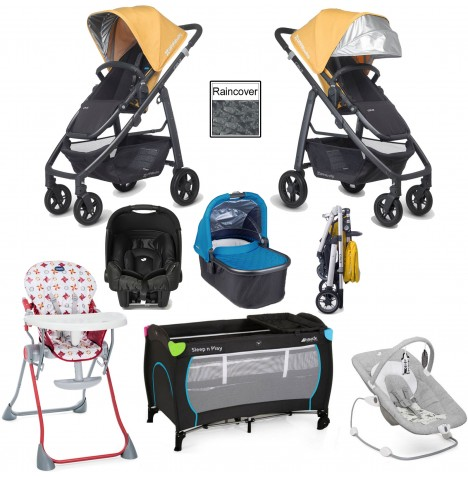 Uppababy Cruz Everything You Need Travel System & Carrycot Bundle - Maya Yellow / Georgie Blue