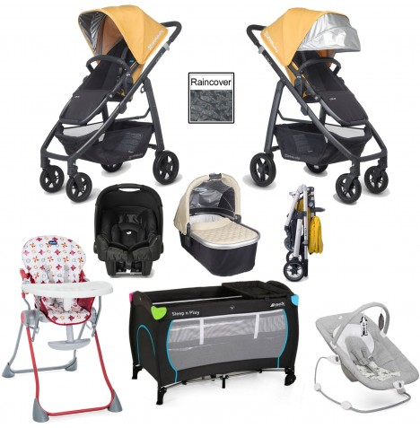 Uppababy Cruz Everything You Need Travel System & Carrycot Bundle - Maya Yellow / Lindsey Wheat