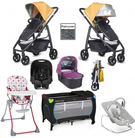 Uppababy Cruz Everything You Need Travel System & Carrycot Bundle - Maya Yellow / Samantha Pink
