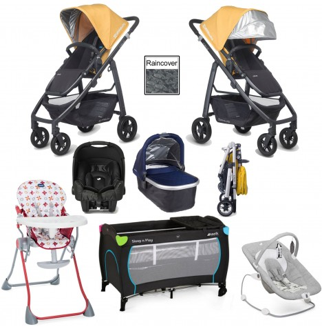 Uppababy Cruz Everything You Need Travel System & Carrycot Bundle - Maya Yellow / Taylor Indigo