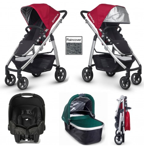Uppababy Cruz (Gemm) Travel System & Carrycot - Denny Red / Ella Green