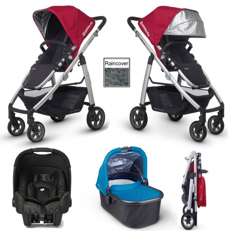 Uppababy Cruz (Gemm) Travel System & Carrycot - Denny Red / Georgie Blue
