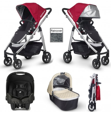 Uppababy Cruz (Gemm) Travel System & Carrycot - Denny Red / Lindsey Wheat
