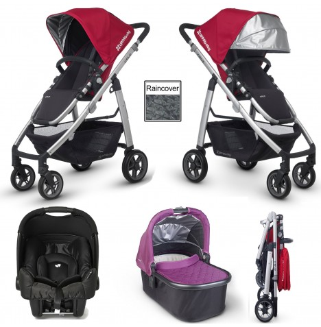 Uppababy Cruz (Gemm) Travel System & Carrycot - Denny Red / Samantha Pink