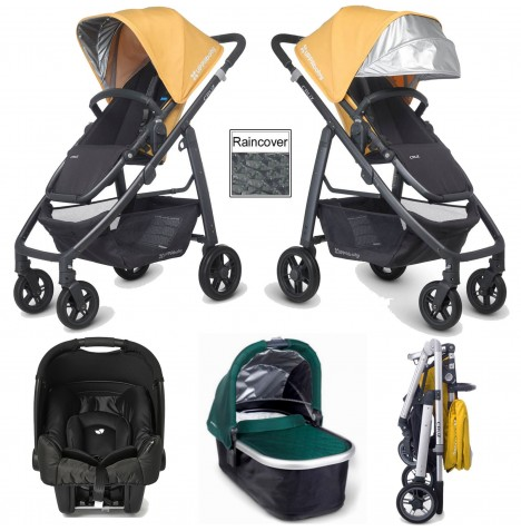 Uppababy Cruz (Gemm) Travel System & Carrycot - Maya Yellow / Ella Green