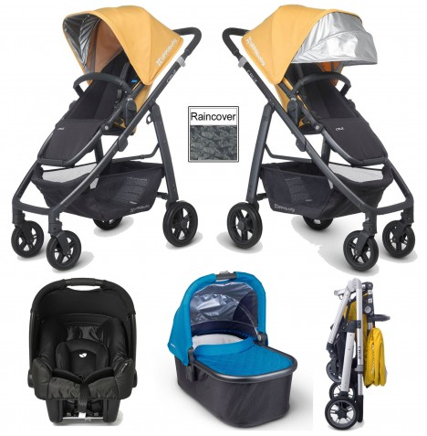 Uppababy Cruz (Gemm) Travel System & Carrycot - Maya Yellow / Georgie Blue