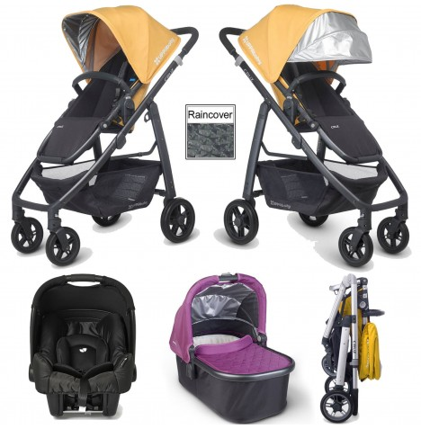 Uppababy Cruz (Gemm) Travel System & Carrycot - Maya Yellow / Samantha Pink