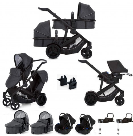Hauck Duett 3 Tandem Travel System & x2 Isofix Bases (x2 Carrycots, x2 Car Seats) - Melange Charcoal