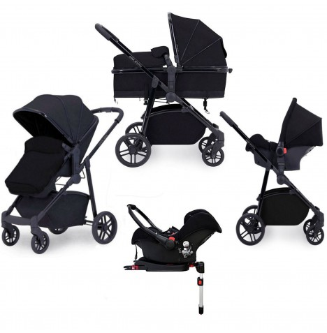 Ickle Bubba Moon 3 in 1 Travel System & Isofix Base - Black