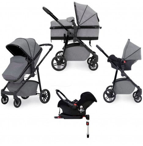 Ickle Bubba Moon 3 in 1 Travel System & Isofix Base - Grey