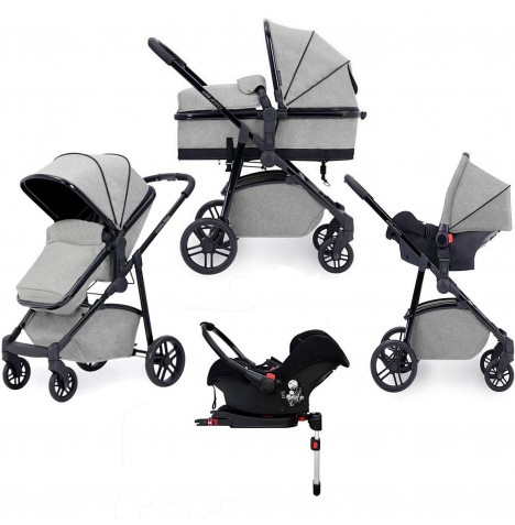 Ickle Bubba Moon 3 in 1 Travel System & Isofix Base - Light Grey