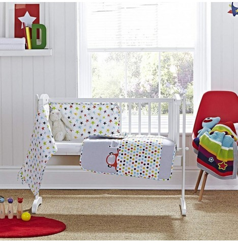 Clair De Lune Rocking Crib 2 Piece Quilt & Bumper Set - Tiddlywinks Grey