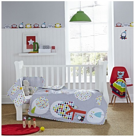 Clair De Lune Cot / Cot Bed Quilt & Bumper Set - Grey / Brights