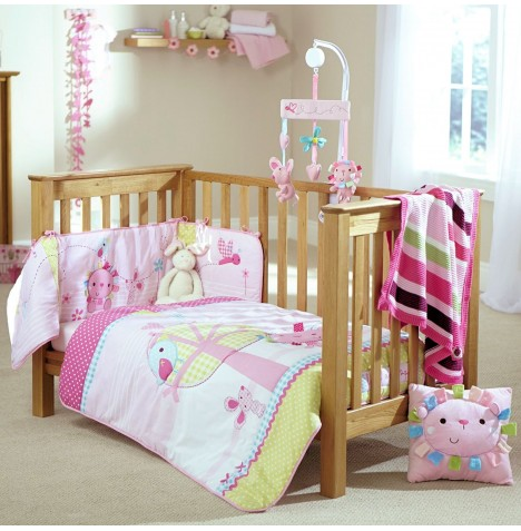 Clair De Lune 3 Piece Cosi Cot / Cot Bed Bedding Set With Mobile - Lottie & Squeek Pink