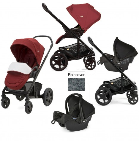 Joie Chrome DLX (Gemm) Travel System (inc Footmuff) - Cranberry