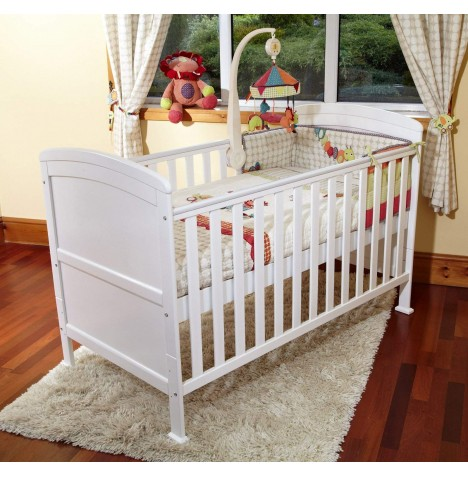 4Baby Vienna Luxury Curved Top Cot Bed - White