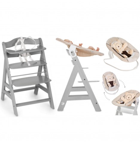 Hauck Alpha+B 4 in 1 Highchair / Lowchair / Adult Chair & Bouncer - Grey / Hearts Beige